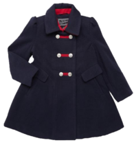 Rothschild Girl's Big Faux Wool Petal Front Military Coat no Hat Midnight - $39.99
