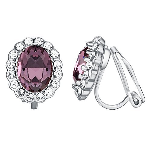 Yoursfs Purple Crystal Earrings for Women Engagement Wedding CZ Jewelry Clip on