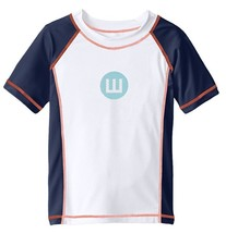 Wes & Willy Little Boys' with Logo Rash GuardNavy/White T-Shirt, Size 4 - $24.74