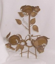 PartyLite Golden Leaves Votive Holder Retired Powder Coated Gold Colored... - $14.80