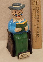 Vintage Bank Saving for my old age Our Town Import Japan Ceramic Old Man... - $9.89