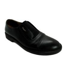 Salvatore Ferragamo Shoes Mens 9 Black Cap Toe Slip On - $233.75