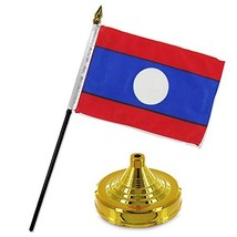 ALBATROS Laos 4 inch x 6 inch Flag Desk Set Table Stick with Gold Base f... - $19.81