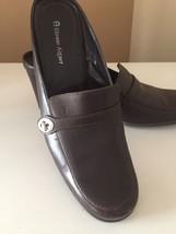 Etienne Aigner E-Truman Brown Leather Shoes Womens US 9 M  Heel Mules Slides - $22.98