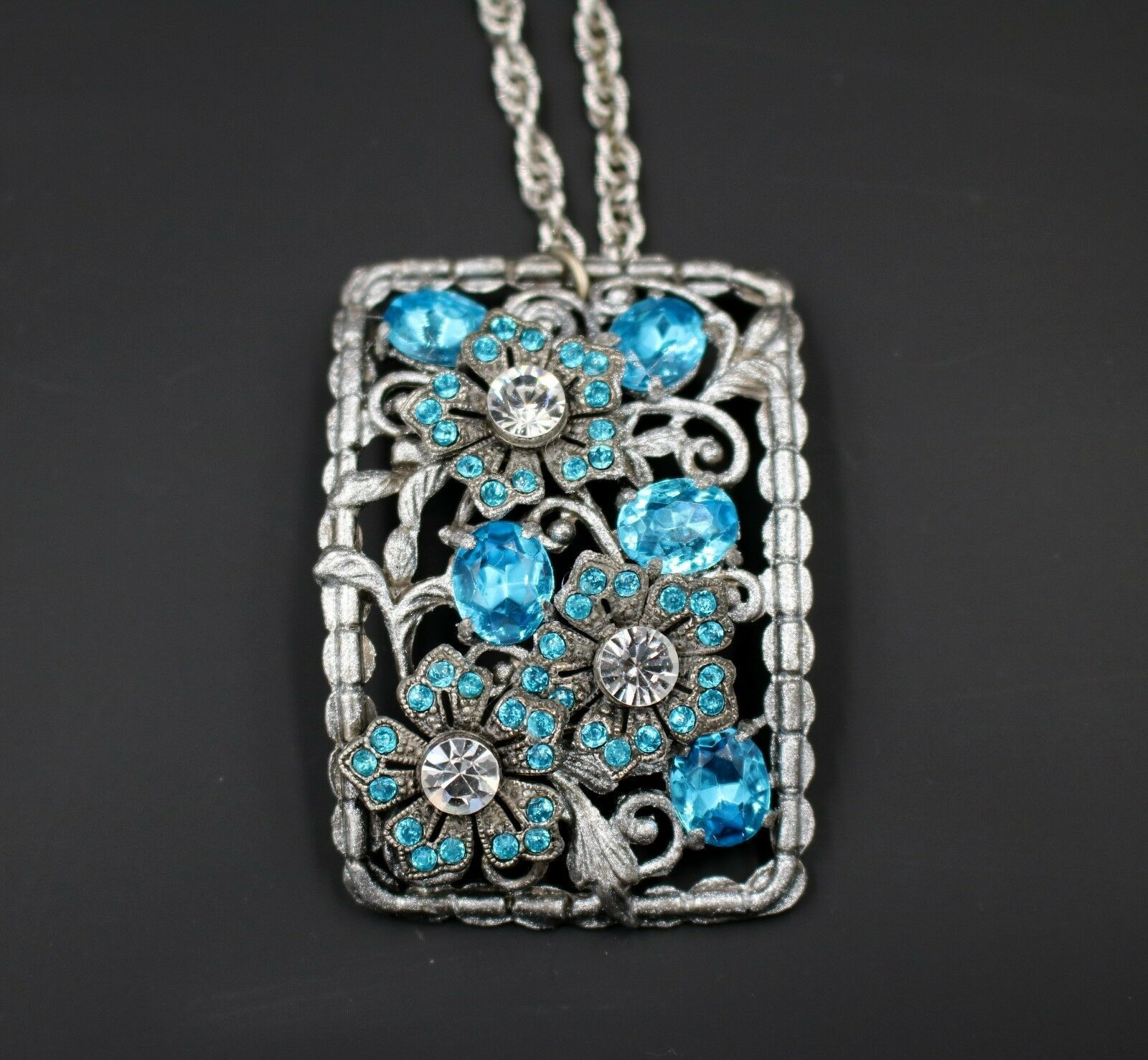 Primary image for Vintage Restore OAK Aqua Made With Swarovski Rhinestone Floral Pendant Necklace