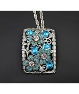 Vintage Restore OAK Aqua Made With Swarovski Rhinestone Floral Pendant Necklace - $24.74