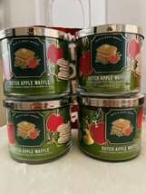 4 Bath & Body Works Dutch Apple Waffle 3 Wick Scented Wax Candle 14.5 Large - $98.99