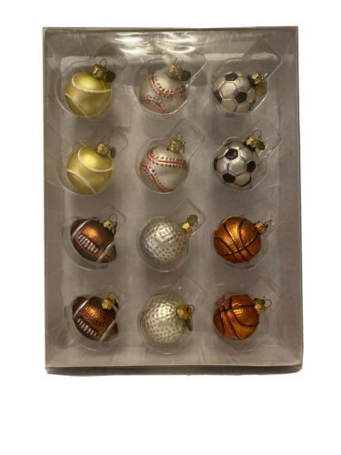 Primary image for Department 56 MiniGlass Sports Ball Ornament  Baseball Golf  Soccer