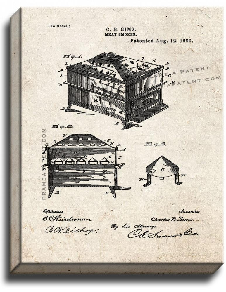 Primary image for Meat Smoker Patent Print Old Look on Canvas
