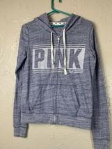 VS Victorias Secret PINK Hoodie Sweatshirt Full Zip Heathered Blue Size ... - $18.65