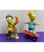 Lot of 2 Simpsons 1990s Fast Food Figures Bart Simpson Wind-Up Skateboar... - $9.89