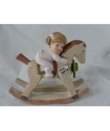 "CHRISTMAS ROCKING HORSE PONY 1983 Enesco Porcelain 4.5"" X 5"" long baby girl - $13.85"