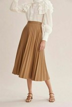 7 For All Mankind Pleated Faux Leather Skirt Tan ( L ) - $117.91