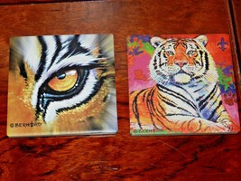 "2 NEW CERAMIC COASTERS EYE OF THE TIGER & TIGER 4 1/4"" - $4.49"