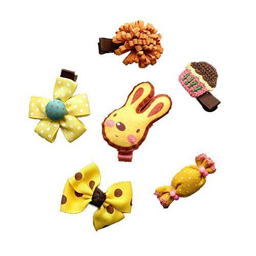 Set of 6 Yellow Hair Clip Set Soft Cloth Rabbit Hair Pins Stylish Little Girls