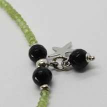 925 STERLING SILVER BRACELET GREEN PERIDOT FACETED BLACK ONYX PENDANT FLAT STARS image 2