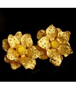KJL Vintage  earrings - golden flower - Designer gold clip on set - Cout... - $85.00