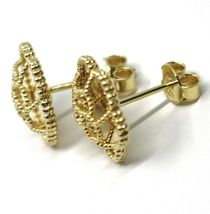 18K YELLOW GOLD BOTTON FLOWER DAISY EARRINGS 14 MM, DOUBLE LAYER WORKED MIRROR image 6