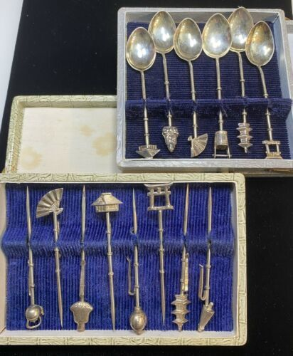 Primary image for Japanese Sterling silver set 5 tea stirring spoons 8 fruit serving picks