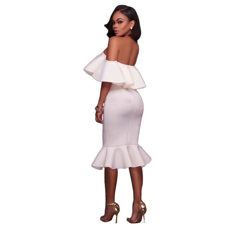 Off Shoulder Ruffle Midi Dress  at bling brides bouquet online bridal store image 2