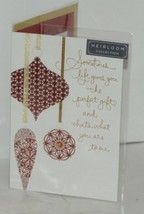 Hallmark Heirloom Collection XZH5754 Merry Christmas Red Gold Ornaments Card image 1
