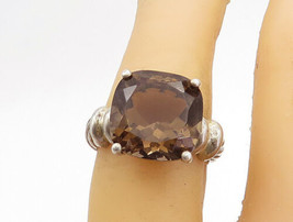 925 Sterling Silver - Vintage Smoky Quartz Twist Band Cocktail Ring Sz 6... - €26,69 EUR
