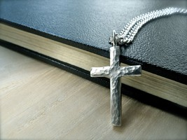 Mens cross necklace hammered silver cross pendant handmade jewelry gift ... - $119.50