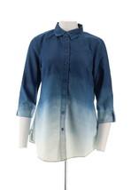 Liz Claiborne NY Designer Charming Dip Dye Denim Tunic Light Wash 6 NEW A266174 - $38.59