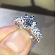 Engagement & Wedding Ring 1.26 Ct Round Cut Diamond 10K White Gold Fn 92... - $86.99