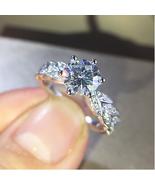 Engagement & Wedding Ring 1.26 Ct Round Cut Diamond 10K White Gold Fn 925 Silver - $86.99