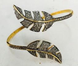 Vintage Look Handmade Rose Cut Diamond Sterling Silver Palm Bracelet CSJ407 - $420.92