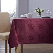 "WOVEN DAMASK ROSE BURGUNDY CIRCULAR ROUND TABLECLOTH 70"" (178CM) - $21.21"
