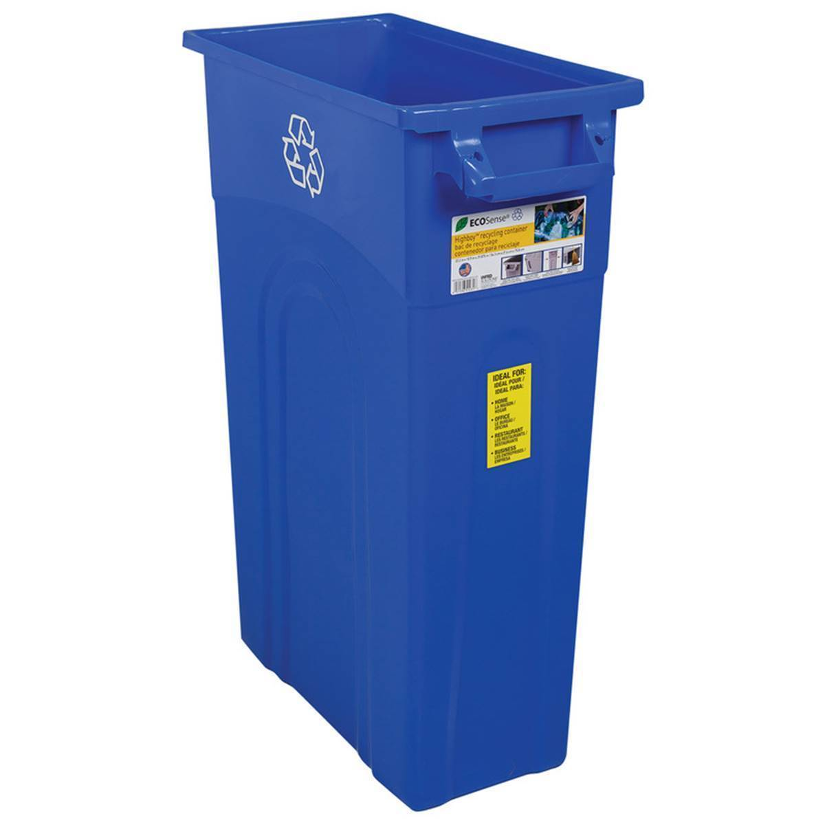 23-Gallon Slim Trash Can - Blue, Highboy Waste Container
