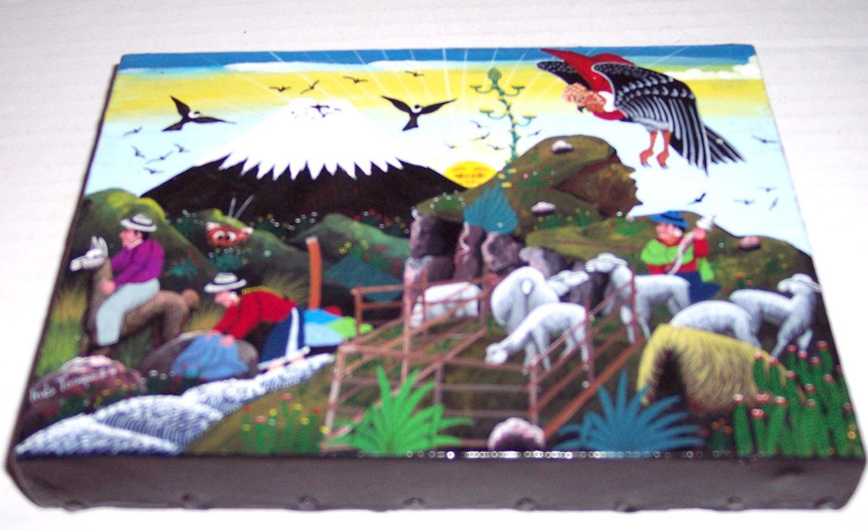 Signed INES TOAQUIZA Hand Made & Painted Ecuadorian Tigua Art Painting Ecuador