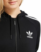 Small Adidas Women's Relaxed Fit 3STRIPES Track Hoodie UK8 - US4 Black LAST1 - $126.22