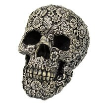 Skull Engraved with Floral Patterns Collectible Desktop Figurine Gift 6 ... - £22.02 GBP