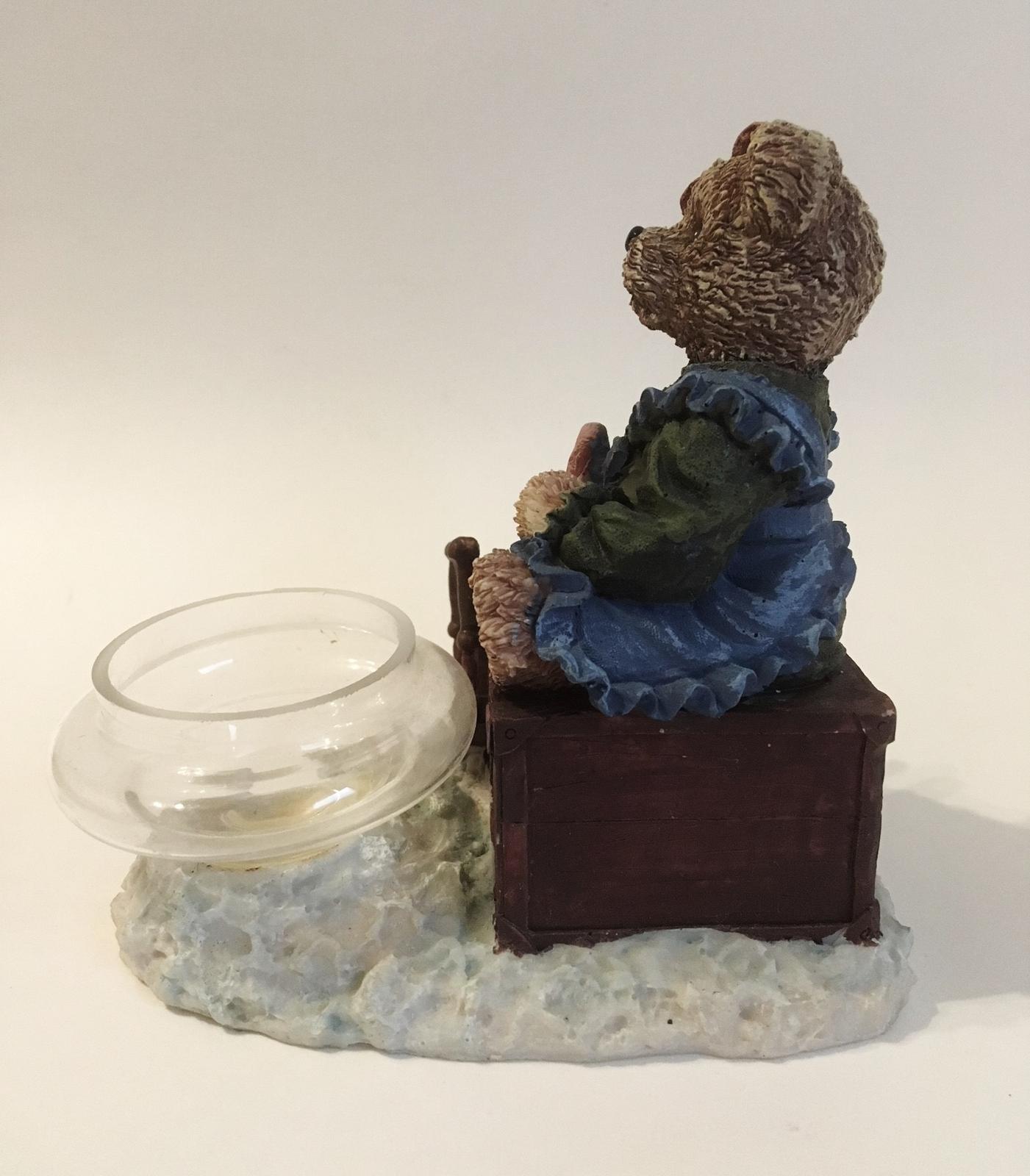 Mama & Baby Teddy Bear Tea Light Candle Holder Blue Green Brown Home Decor Cute