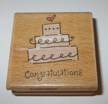"Wedding Cake Congratulations Rubber Stamp Wood Mounted Cards Marriage 2""  - $2.96"