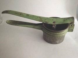 Vintage Hand Held Metal Press Juicer Squeezer Strainer Green - $11.68