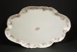 Dainty Antique Limoges Dresser or Vanity Tray -- Pink Roses - $11.40