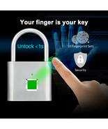 Fingerprint Lock Smart Keyless Padlock For Door Box Bag Waterproof USB C... - £21.67 GBP