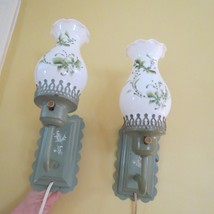 PAIR Metal Tole Painted electric sconce lights painted glass shades lily... - $94.05