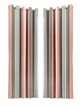 VERTICAL STRIPE PINK GREY BEIGE FULLY LINED ANNEAU TOP CURTAINS 7 SIZES - $30.05+