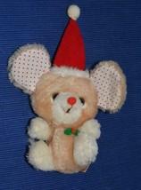 Russ Berrie Christmas Mouse Vintage plush stuffed polka dot ears tan beige - $9.69