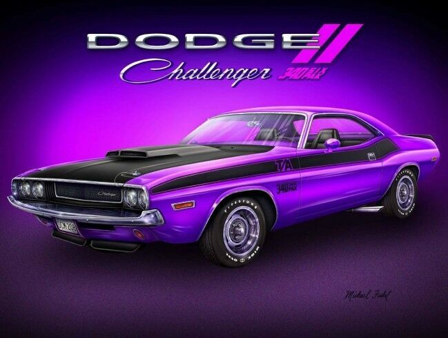 Primary image for Dodge Challenger by Michael Fishel Automotive Classic Car Metal Sign