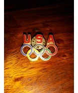 USA OLYMPIC Rings Lapel Pin Collector Badge Olympic Games Pin Back HoHo ... - $4.95