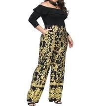 Off Shoulder Wide Leg Fashion Long Sleeves Women Jumpsuit with Belt L - $26.70