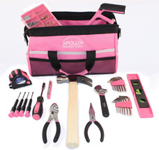 Apollo Tools 201-Piece Household Tool Kit in Tool Bag, Pink - $47.65