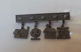 Vintage Signed HMK Jan Karon  Dangling House/Tree Charms  - $20.79