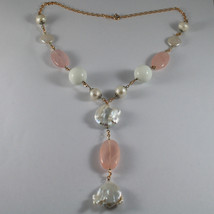 .925 RHODIUM SILVER ROSE GOLD PLATED NECKLACE WITH PINK QUARTZ, PEARL AND AGATE image 2